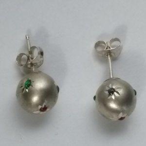 Sterling 8mm Diamond Cut Enamel Ball Stud Earrings